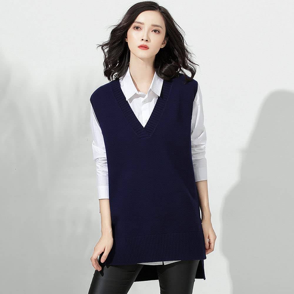 Sweater Vest Women,Womens Knitted Sweater Vest Casual Loose Solid Color Side Vents Sleeveless Sweater Jumpers Round Neck Preppy Style Vintage Stylish Autumn Winter Girls Sleeveless Tank Top ,Navy Blu
