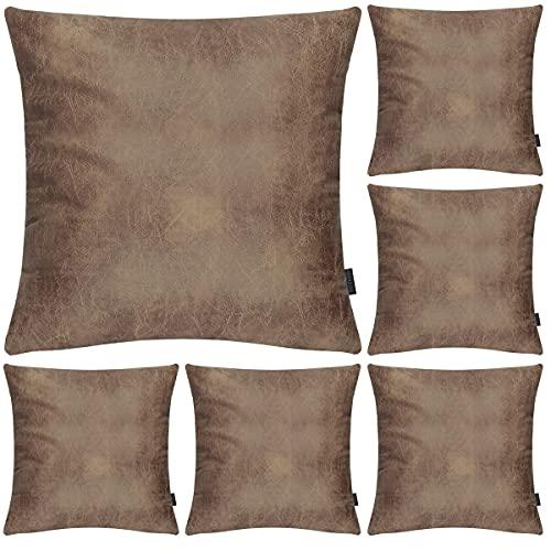 Hodeacc - Juego de 6 fundas de cojín decorativas de piel sintética para sofá o silla.