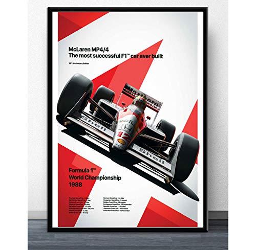 MXIBUN Pintura en Lienzo Mclaren World Champion Ayrton Senna F1 Formula Racing Car Cartel Impresión Cuadro de Arte de Pared Regalo Decoración para el hogar sin Marco 40 * 60cm
