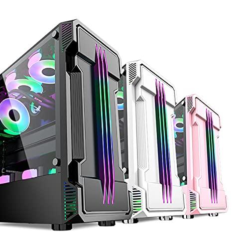 AMIAO La Carcasa de la computadora para Juegos de Torre Media está Disponible en Tres Colores, Panel RGB, Panel Lateral de Vidrio Templado, Placa Base Compatible con ATX, Listo para Enfriar por Agua