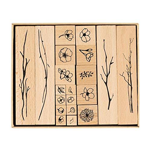 CAOLATOR 1 Set Scrapbooking Stempel Blume Holz DIY Holz Gummi Stempel Gummistempel Stempelset Ornamente für Scrapbooking Handwerk