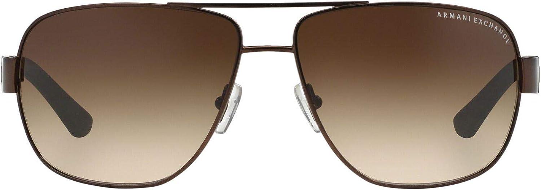 AX Armani Exchange Men's Ax2012s Metal Rectangular Sunglasses