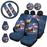 WELLFLYHOM American Flag Horse Car Seat Cover Protector Front & Rear Seat Cover SUV Car Sedan Full Set 11-pcs with Steering Wheel Cover + Seatbelt Strap Cover+ Coasters+ Key Chains Universal Fit