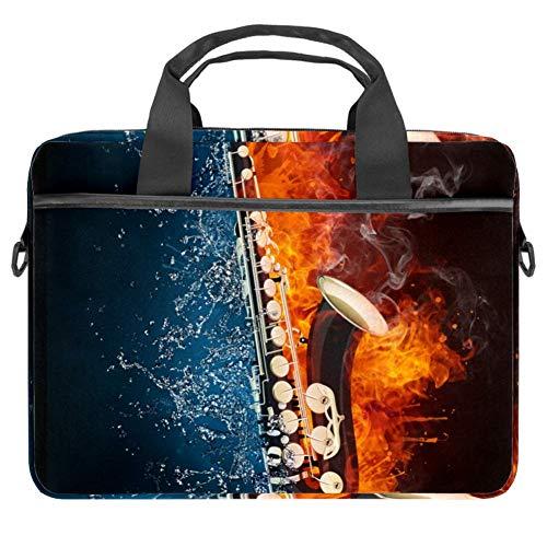 LORVIES Muziek Saxofoon Laptop Tas Schouder Messenger Tas Zakelijke Mouw Draaghandvat Tas voor 14 naar 15.4 inch Laptop Notebook