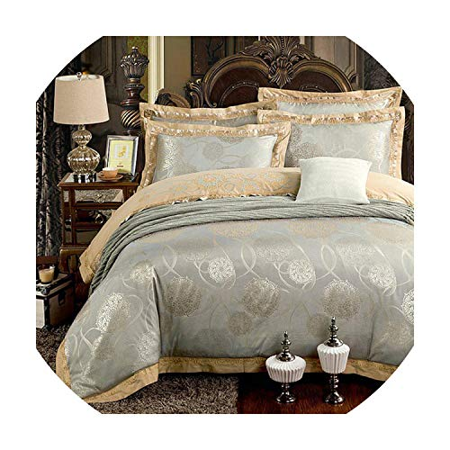 Silver Gold Luxury Silk Satin Jacquard Duvet Cover Bedding...