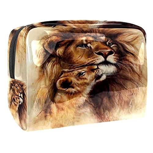 Damen Make-up Tasche,Aufbewahrung Reisetasche für Damen wasserdicht Schöne Airbrush-Malerei von Löwen für Reisen, Kosmetik-Organisator