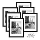 FEGO 11x14 Picture Frame Set of 6, Wall Gallary Photo Frame, Display Pictures 8x10 with Mat or 11x14 Without Mat, Hanging Hardware Included, Black
