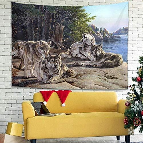 BOIPEEI Vintage Lobo Bosque Paisaje Pintura impresión Colgante de Pared Tapiz Arte de la Pared Sala de Estar Tradicional blanco100Cmx70Cm