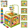 TOYVENTIVE Wooden Kids Baby Activity Cube - Girls Gift Set | 1st Birthday Gifts Toys for 1 One, 2 Year Old Girl | Developmental Toddler Educational Learning Girl Toys 12-18 Months | Bead Maze from TOYVENTIVE
