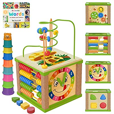TOYVENTIVE Wooden Kids Baby Activity Cube - Girls Gift Set   1st Birthday Gifts Toys for 1 One, 2 Year Old Girl   Developmental Toddler Educational Learning Girl Toys 12-18 Months   Bead Maze from TOYVENTIVE