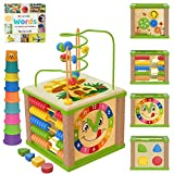 TOYVENTIVE Wooden Kids Baby Activity Cube - Girls Gift Set | 1st Birthday Gifts Toys for 1 One, 2 Year Old Girl | Developmental Toddler Educational Learning Girl Toys 12-18 Months | Bead Maze