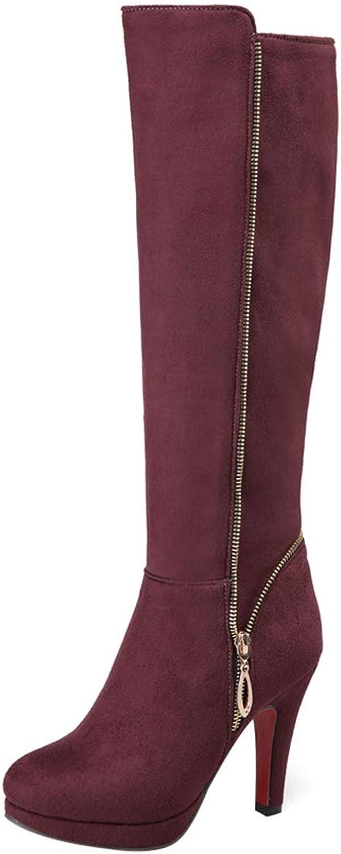 Vitalo Womens Platform Zip Knee High Heel Ladies Calf Length Boots