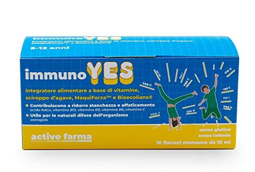ImmunoYES integratore alimentare a base di vitamine, sciroppo d'agave, MaquiForza e Bioecolians, 10 flaconi monodose da 10 ml