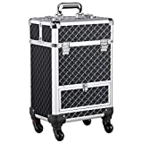 Yaheetech Rolling Makeup Train Case Aluminum Cosmetic Case Wheel Barber Case Salon Lockable Travel Trolley with Sliding Drawers Removable Divider Black