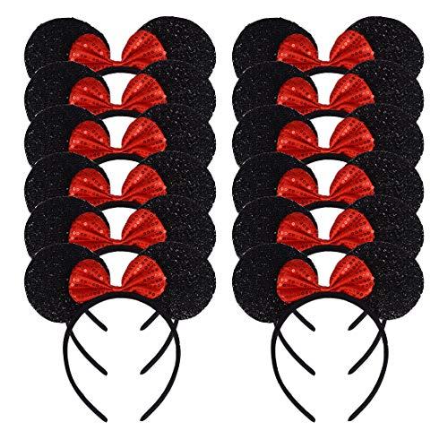 Muizenoren, 12 stuks, voor verjaardag, Halloween, party's, mama, jongens, meisjes, haarsieraad, mooie muis, oor, haarband Zwarte glitter rode paillette