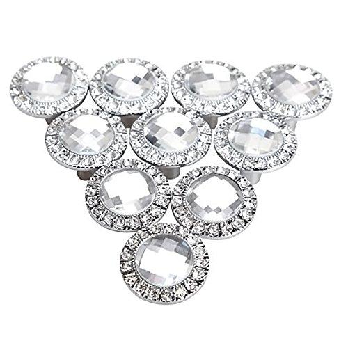 Gosear - 10 Piezas Manillones Pomos y Tiradores/Perillas para Armario de Cocina Gabinete de Cajón de Puerta Manija(Redondo Diamantes de Cristal Brillante 30mm,Plata)