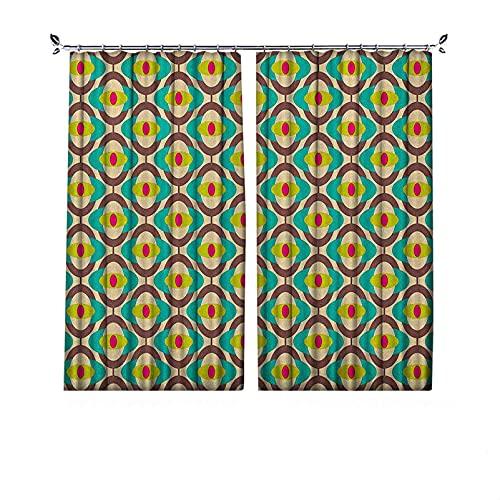 Groovy Bauhaus - Cortinas opacas (90 % opacas, diseño artístico, diseño geométrico, minimalista, retro, inusual, cortinas plisadas para dormitorio, sala de estar, 172 x 200 cm), multicolor
