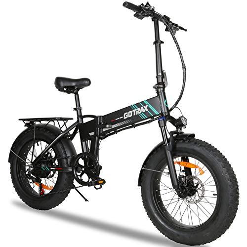 in budget affordable Gotrax EBE4 Fat Tire Electric Bike, 20inch-20mph & 50mph – 350W Motor – 7 Folding Electric Bike