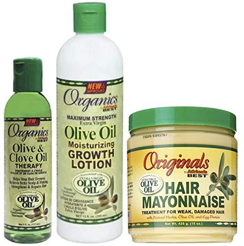 Afrikas Best Organics Olijf- en Kruidnagelolie-therapie, Groth Lotion en Haarmayonaise (set van 3)