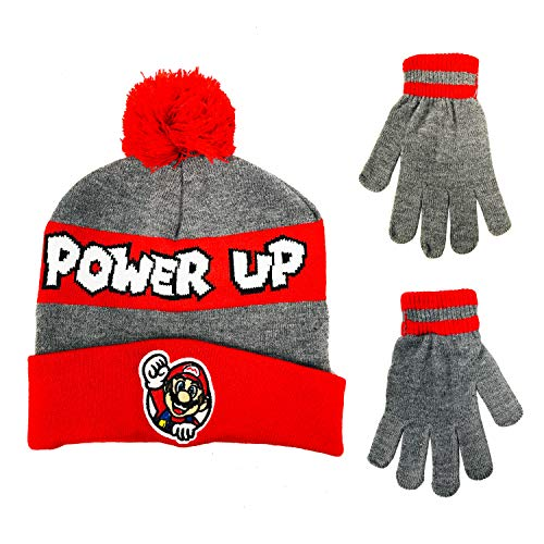 Nintendo Super Mario Boys Winter Hat and Gloves Cold Weather Set, Age 4-7