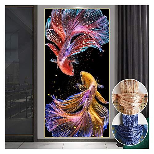 Blossion Costura, Bricolaje imprimido Princesa de Peces de Colores de Goldfish, Conjuntos de Kit de Bordado Bordado Completo koi Costura Cruzada decoratio