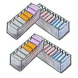 Organizador de Ropa Interior para Cajones Cajas Plegables de Malla de Tela para Calcetiones Medias (Gris)