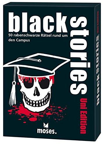 moses. black stories - Uni Edition | 50 rabenschwarze Rätsel | Das Krimi Kartenspiel