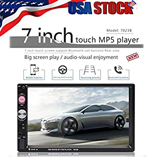 IHGTZS 7 Inch Double 7023B 2 DIN Car FM Stereo Radio MP5 Player Touchscreen Bluetooth, Support (Android/Apple) USB TF FM Radio Backup Rear View Camera Mirror Link Car Audio Receiver