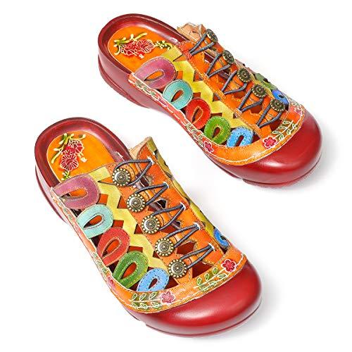 gracosy Sabots Cuir Femmes, Chaussures Été Sandales...