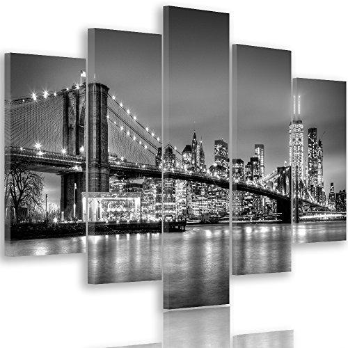 Feeby Quadro Multipannello su Tela 5 Pezzi Tipo A 200x100 cm Ponte di Brooklyn New York Architettura Bianco e Nero
