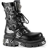 New Rock Newrock M.373-S4 Metallic Boots Black Leather Goth Biker Emo Fashion 7