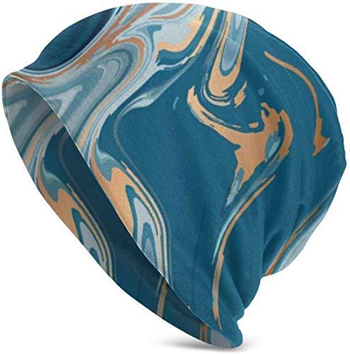 Voxpkrs Blue Liquid Marble Soft Slouchy Beanie Hats Daily Long Baggy Skull Cap - Men & Women Cool 35962