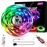 ZATAYE Led Lights Strip for Bedroom, 25ft RGB Led Lights Strip Kit, Music Sync Color Changing Flexible Rope Lights for Home, Kitchen, Party Decoration
