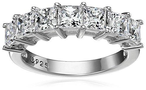 Platinum-Plated Sterling Silver Swarovski Zirconia Princess-Cut Ring (2 cttw), Size 7