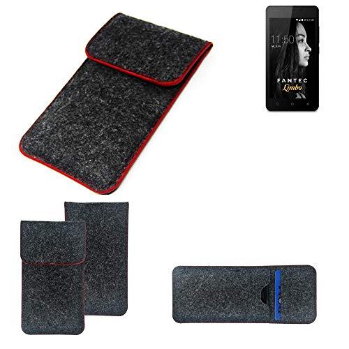 K-S-Trade Handy Schutz Hülle Für FANTEC Limbo Schutzhülle Handyhülle Filztasche Pouch Tasche Hülle Sleeve Filzhülle Dunkelgrau Roter Rand