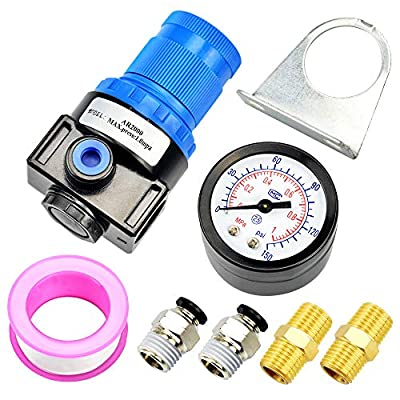 Tailonz Pneumatic 5-in-1 1/4 Inch Npt Mini Pressure Regulator Kit for Compressed Air Systems, Adjust 0 to 140 Psi from Tailonz Pneumatic