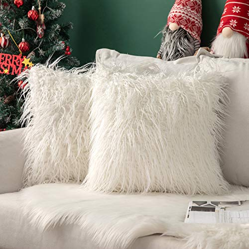 MIULEE Christmas Fluffy Cushion Cover Faux Fur Throw Soft Solid Decorative Square Plush Mongolian Cute Pillow Case For Sofa Bedroom Living room 18 x 18 Inch 45 x 45 cm White Set of 2