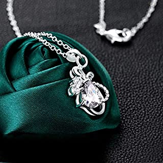 Home European and American Silver-Plated Items, Stylish and Delicate Butterfly Necklace, Jewelry (Color : White) Girls Necklace (Color : White)