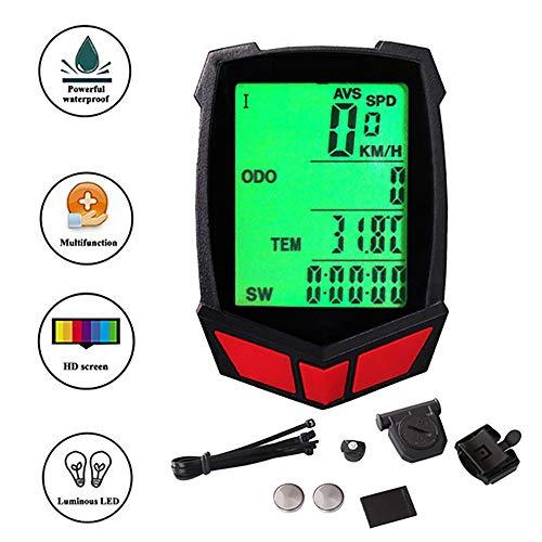 Velocímetro de bicicleta, Pantalla LCD impermeable multifunción Cuentakilómetros de bicicleta Podómetro Cronómetro,...