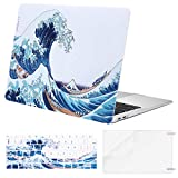 MOSISO Compatible with MacBook Air 13 inch Case 2021 2020 2019 2018 Release A2337 M1 A2179 A1932 Retina Display Touch ID, Plastic Pattern Hard Case&Keyboard Cover&Screen Protector, Great Sea Wave