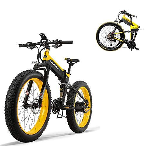 XTD New 500W 48V Electric Mountain Fahrrad- 26inch Fat Tire E-Bike Beach Cruiser Mens Sports Elektro-Fahrrad MTB Dirtbike- Full Suspension Lithium-Batterie E-MTB, Gelb A
