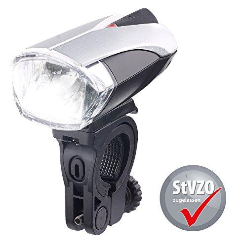 KRYOLiGHTS Fahrradscheinwerfer: LED-Fahrradlampe FL-412 mit Licht-Sensor & Akku, zugelassen n. StVZO (Fahrrad Licht USB)