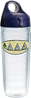 Tervis 1230848 sorority Delta Insulated Tumbler with Emblem and Navy with Gray Lid, 24oz Water Bottle, Clear