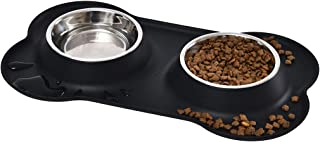 AmazonBasics Dog Bone Shaped Silicone Pet Bowl Combo - Black