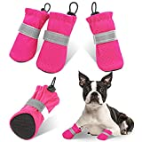 AOFITEE Dog Boots Soft Puppy Dog Shoes, Breathable Soft Pet Booties, Adjustable Doggy Paw Protector with Reflective Straps and Waterproof Non-Slip Sole for Small Dogs (Pink M)