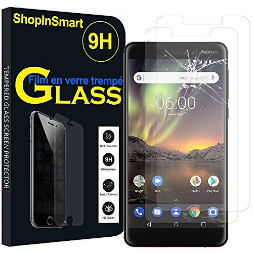 ShopInSmart 2x Hochwertige gehärtete Panzerglasfolie für Nokia 6 (2018)/Nokia 6.1 5.5