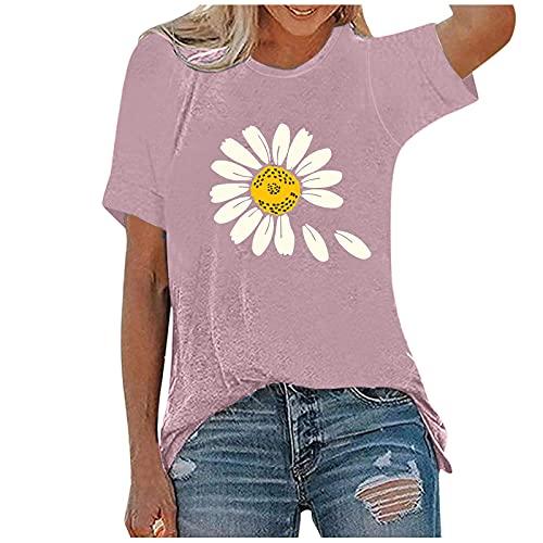 LalalukaOberteileDamenBluse Große Größe Gänseblümchen Druck Rundhals Loose T-Shirt T Shirt BluseFrauen SommerTSshirtOberteilTunikaTopTshirtHemdLongshirtKurzarmshirtSweatshirtTee