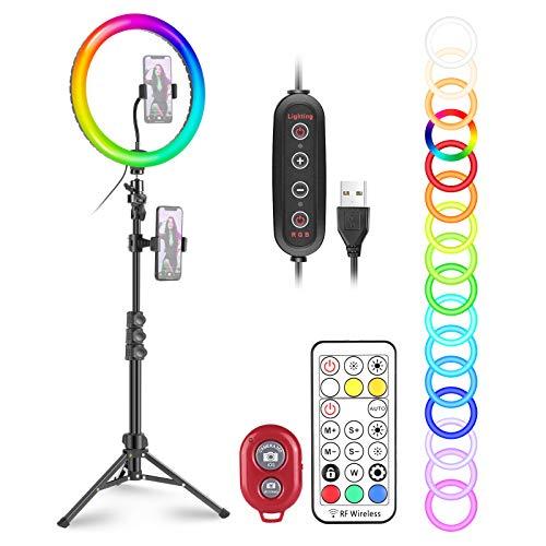 """Neewer 12"""" Luce Anulare RGB LED da Selfie Dimmerabile con 121cm Treppiede, Supporto Clip per Smartphone, Telecomando, 29 Modalità di Colori per Truccatura Streaming in Diretta YouTube TikTok Video"""