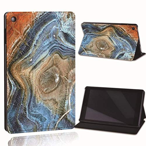 for Amazon Fire 7 5/7/9th Fire HD 8 10 Printed Leather Smart Tablet Stand Folio Cover-Ultra-Thin Marble Tablet Stand Case,28.Blue Rainbow,Fire 7 5th 7th 9th