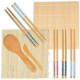 Oak & Steel 9 Pcs Kit para Hacer Sushi - Kit de Sushi de Bambú